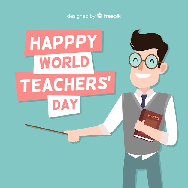 Adorável composição do dia dos professores do mundo com design plano Vetor Premium