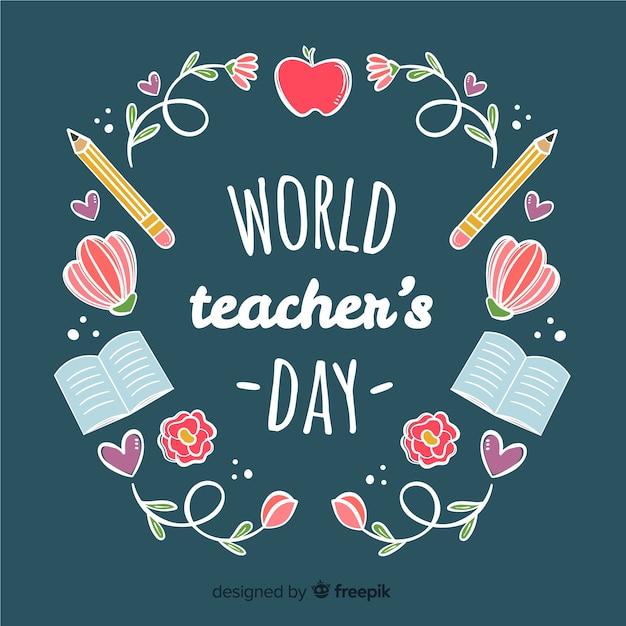 Adorável composição do dia dos professores do mundo com estilo desenhado mão Vetor grátis