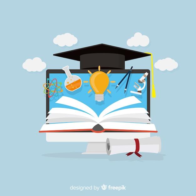Adorável conceito de educação com design plano Vetor grátis