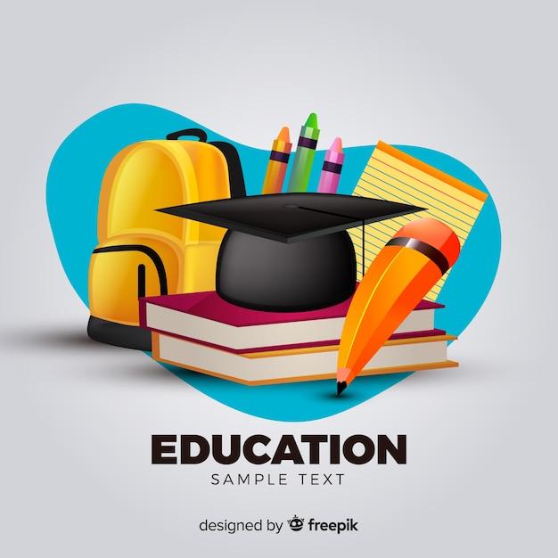 Adorável conceito de educação com design realista Vetor grátis
