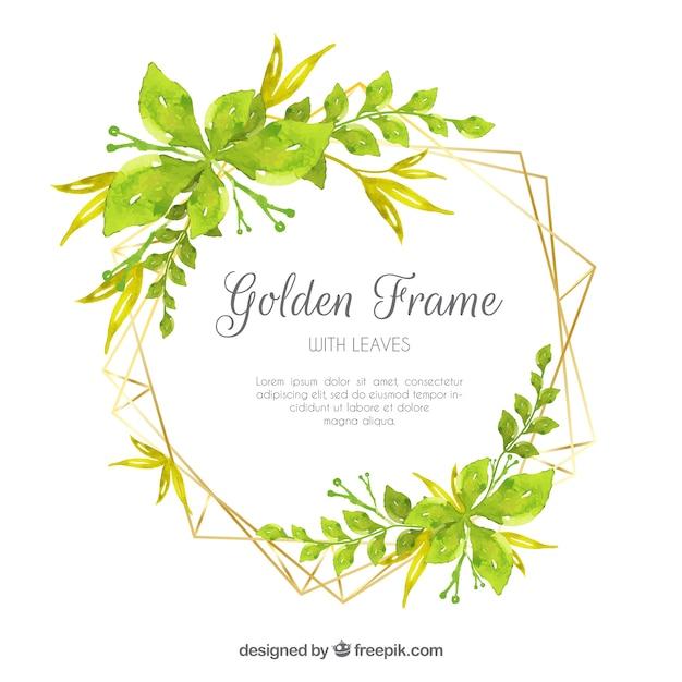Adorável fundo aquarela com moldura de folhas Vetor grátis