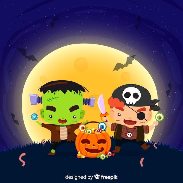 Adorável fundo de halloween com design plano Vetor grátis