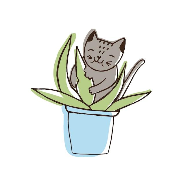 Adorável gato nojento comendo plantas de casa. gatinho travesso roendo planta crescendo em um vaso Vetor Premium