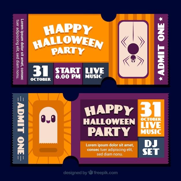 Adorável ingressos de halloween com fantasma e aranha Vetor grátis