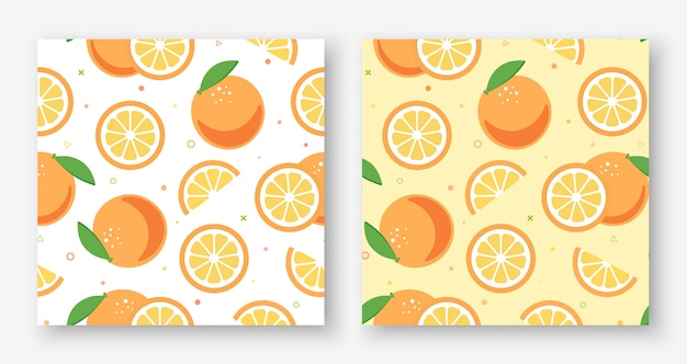 Adorável laranja branco e amarelo sem costura padrão Vetor Premium