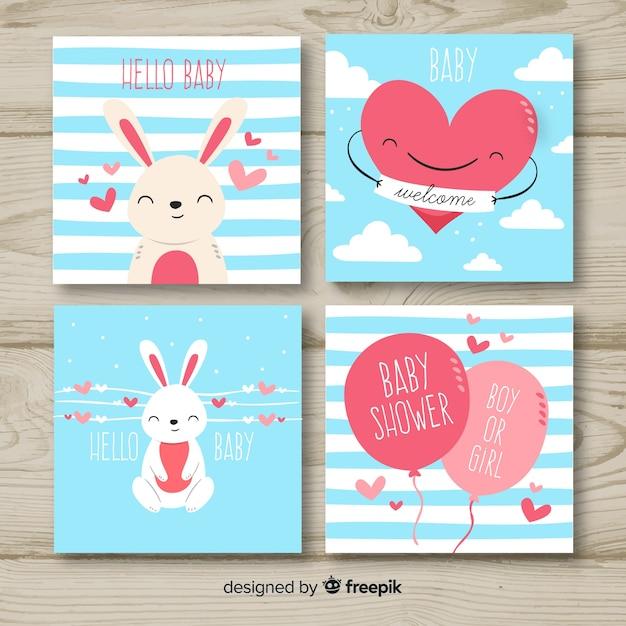 Adorável mão desenhada coleção de cartão de chá de bebê Vetor grátis