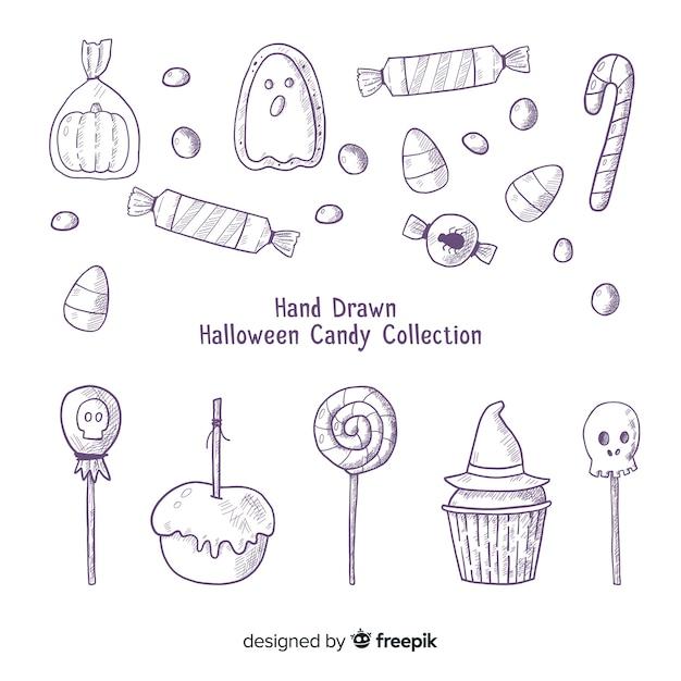 Adorável mão desenhada coleção de doces de halloween Vetor grátis
