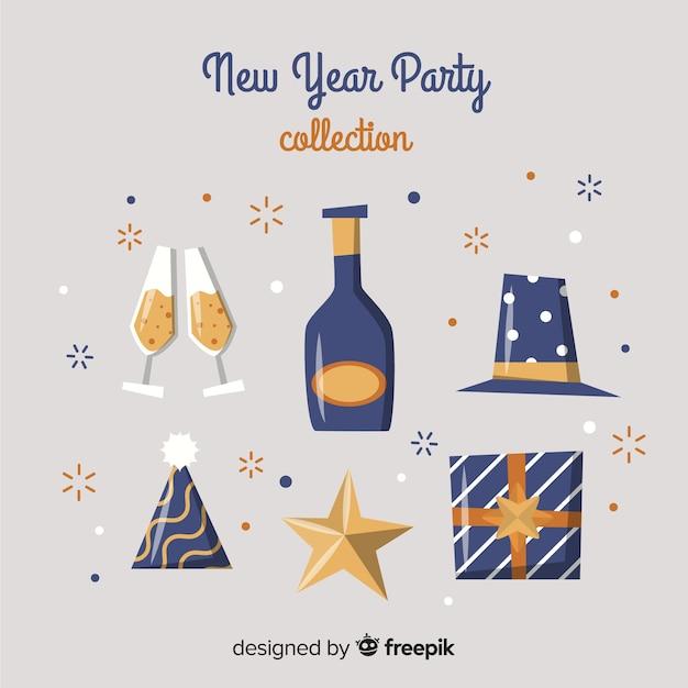 Adorável mão desenhada coleção de elemento de festa de ano novo Vetor grátis