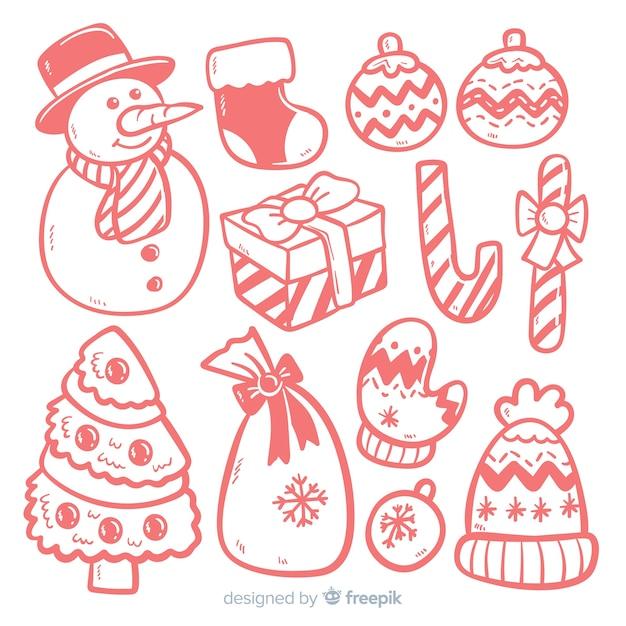 Adorável mão desenhada coleção de elemento de natal Vetor grátis