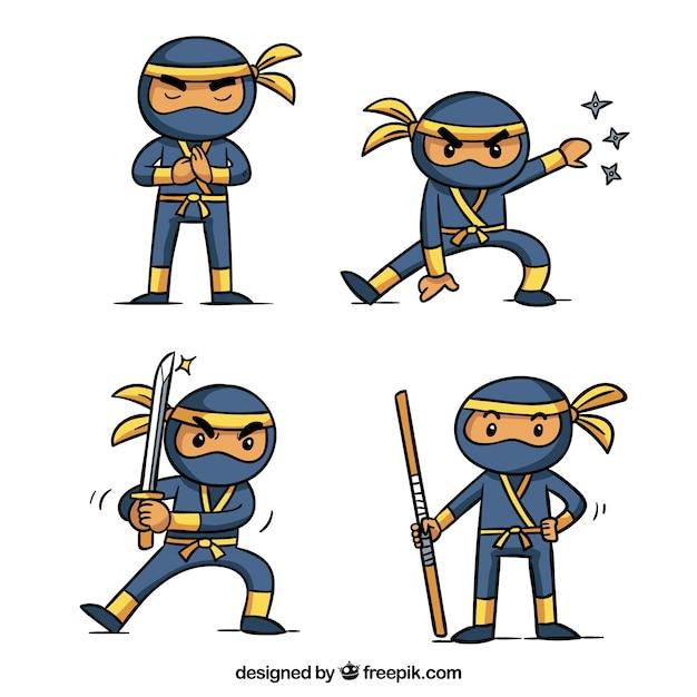 Adorável mão desenhada coleção de personagens ninja Vetor grátis