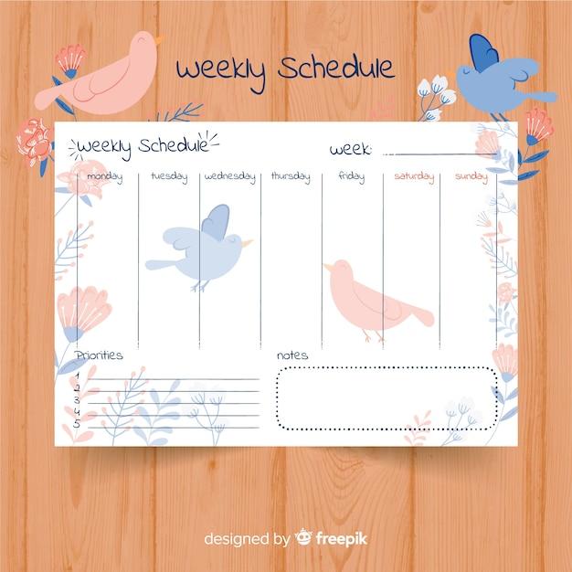 Adorável modelo de agenda semanal com estilo colorido Vetor grátis