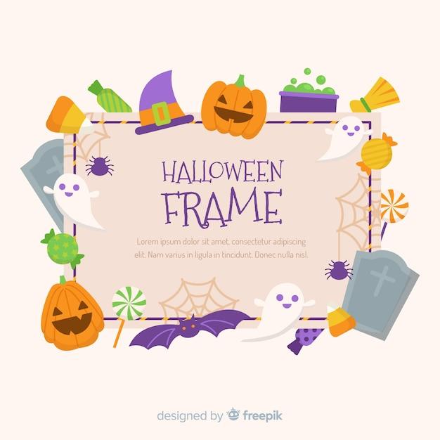 Adorável moldura de halloween com design plano Vetor grátis