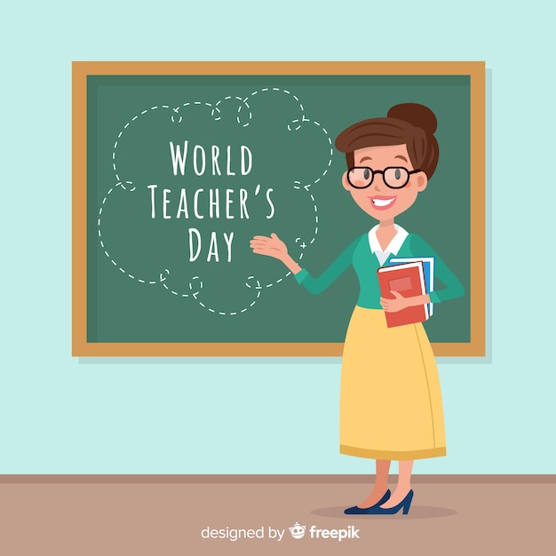 Adorável mundo professores dia composição com design plano Vetor Premium