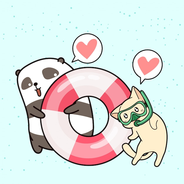 Adorável panda e gato de férias Vetor Premium