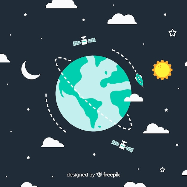 Adorável planeta terra com design plano Vetor grátis