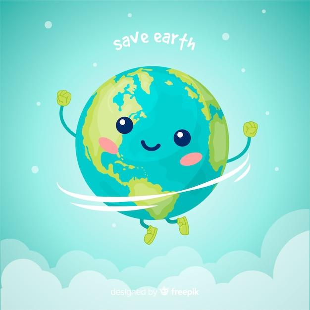 Adorável planeta terra com estilo cartoon Vetor grátis