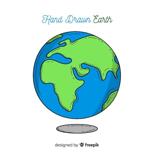 Adorável planeta terra com estilo desenhado de mão Vetor grátis