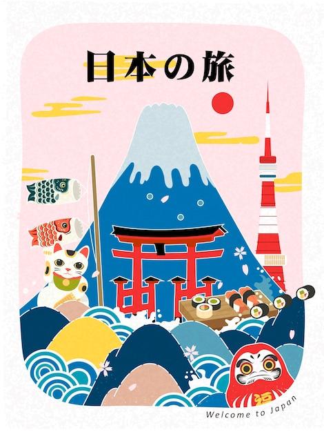 Adorável pôster turístico no japão com pontos de referência Vetor Premium
