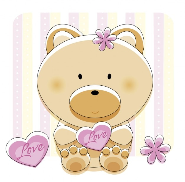 Adorável urso com amor do coração Vetor grátis