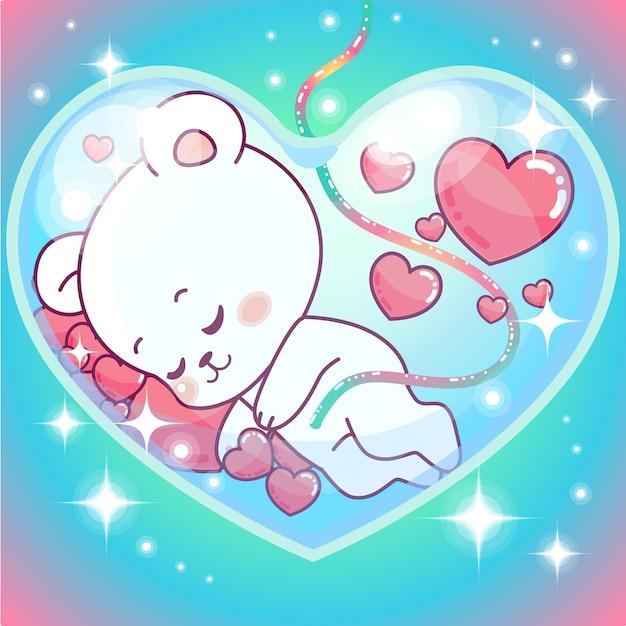 Ilustração de ursinho bebê em útero em formato de coração