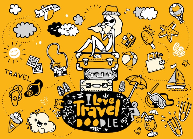 Adoro viajar no estilo doodles Vetor Premium