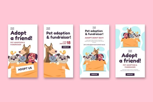 Adote um animal de estimação do modelo de histórias do instagram do abrigo Vetor Premium