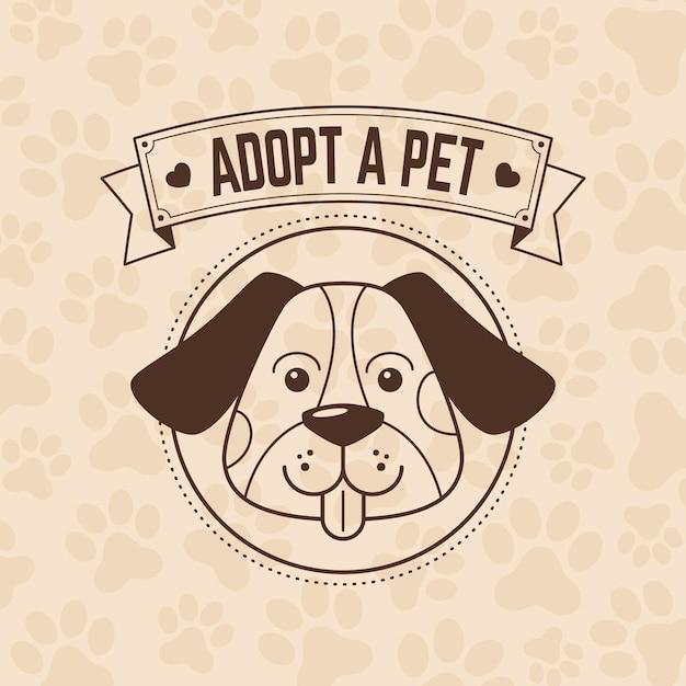 Adote uma ilustração de animal de estimação com cachorro Vetor Premium