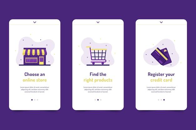 Adquira o conjunto de telas de aplicativos on-line on-line Vetor grátis