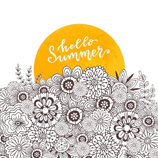 Adulto página para colorir livro. arte zentangle para design. letra desenhada a mão do otimo verão Vetor Premium