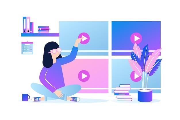 Adultos aprendendo e fazendo cursos on-line Vetor Premium