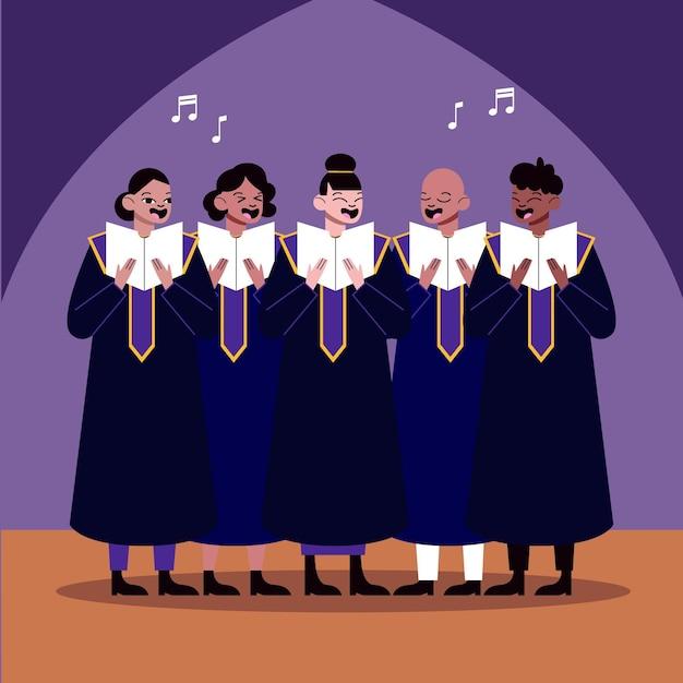 Adultos cantando juntos em um coral gospel ilustrado Vetor Premium