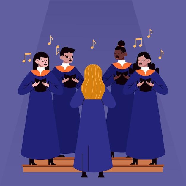 Adultos ilustrados cantando juntos em um coral gospel Vetor Premium