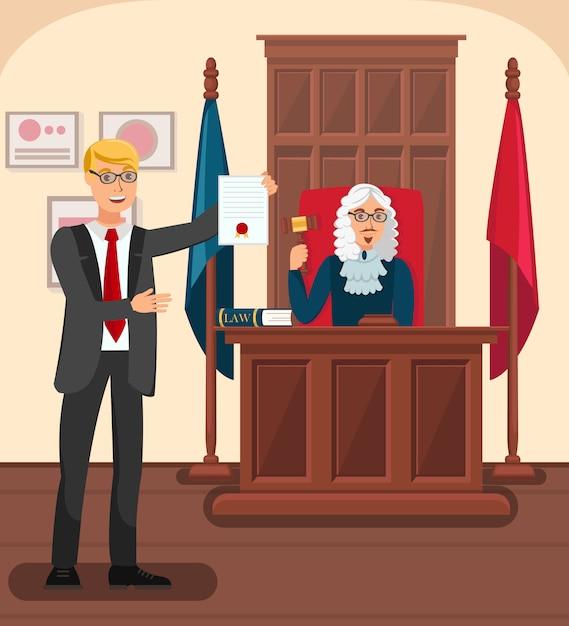 Advogado mostrando provas na ilustração plana de tribunal Vetor Premium