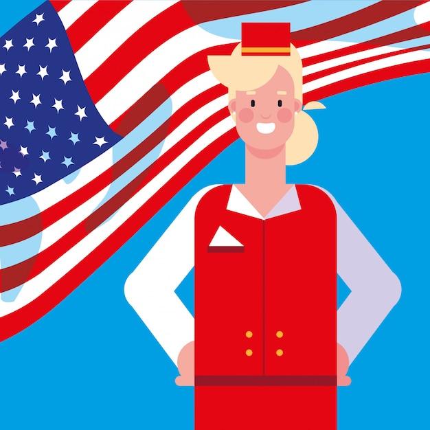 Aeromoça de mulher com bandeira eua Vetor Premium