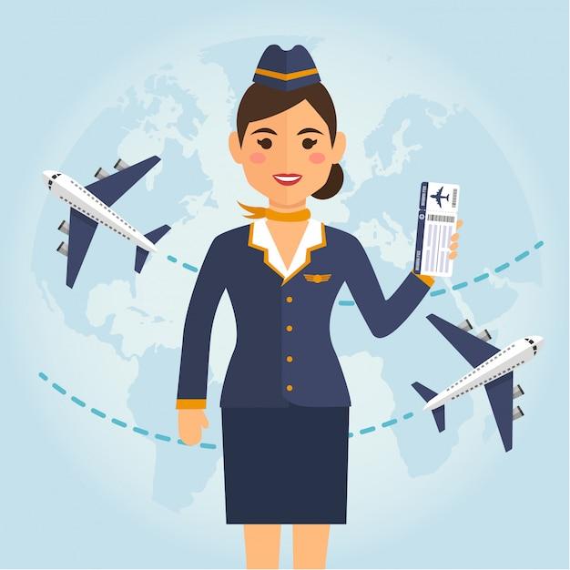 Aeromoça mulher de uniforme com bilhetes de avião Vetor Premium
