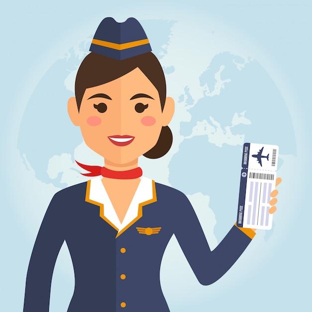 Aeromoça mulher de uniforme Vetor Premium