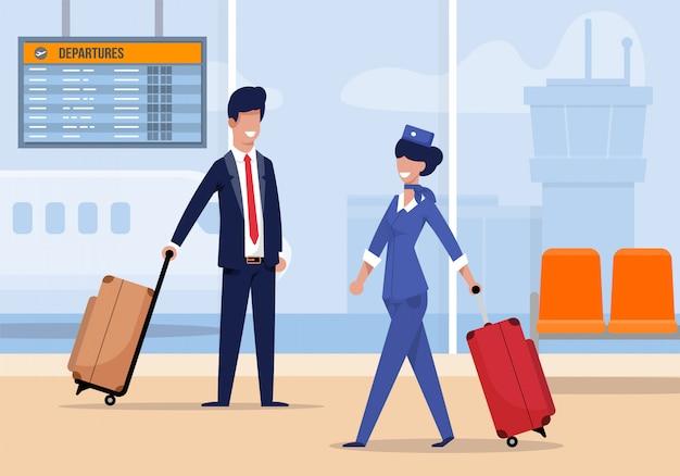 Aeromoça no aeroporto vem com mala plana. Vetor Premium
