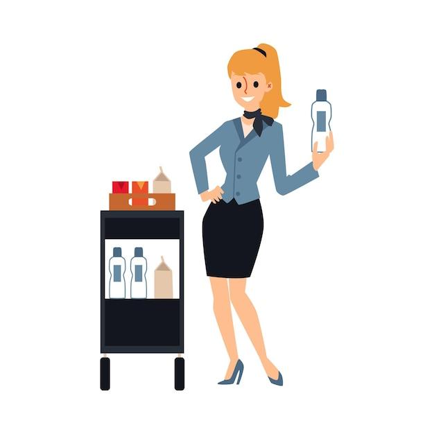 Aeromoça servindo bebidas no carrinho de comida - comissária de bordo de desenho animado Vetor Premium