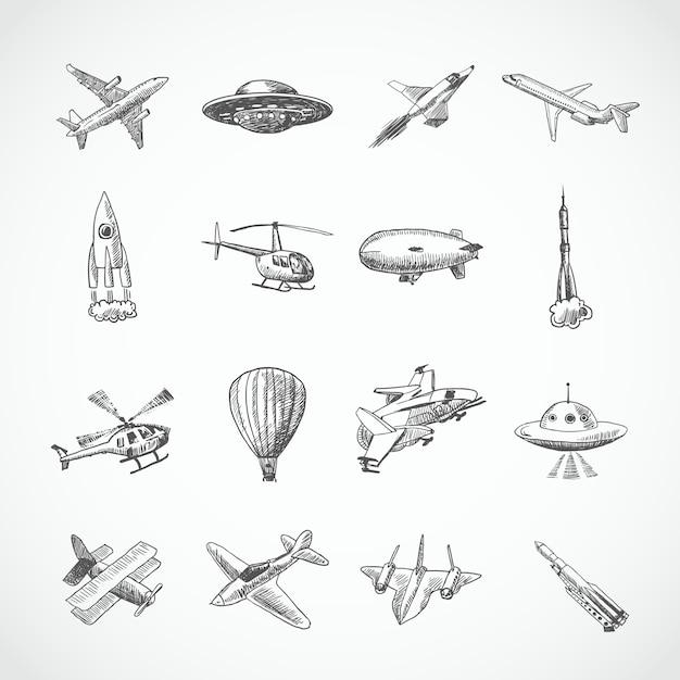 Aeronave, helicóptero, militar, aviação, avião, esboço, ícones, jogo, isolado, vetor, ilustração Vetor grátis