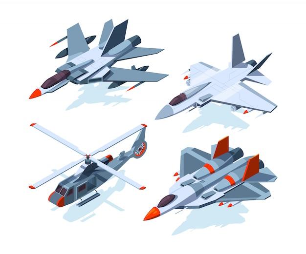 Aeronaves militares isométricas. Vetor Premium
