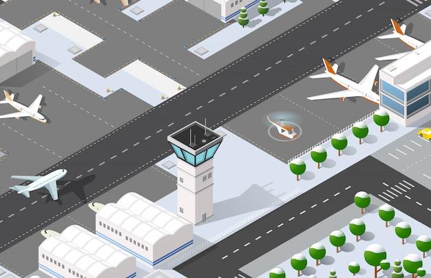 Aeroporto 3d isométrico Vetor Premium