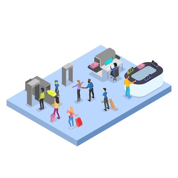 Aeroporto com conjunto de passageiros. check-in e segurança Vetor Premium
