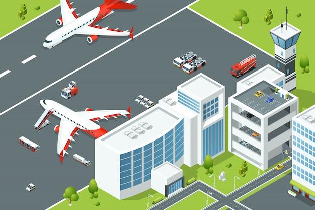 Aeroporto, controla edifícios de aeronaves. rampa de avião e diferentes máquinas de apoio na pista. isomet Vetor Premium
