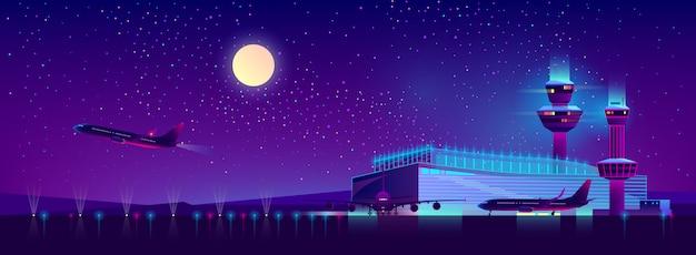 Aeroporto da noite em cores ultravioletas, fundo Vetor grátis