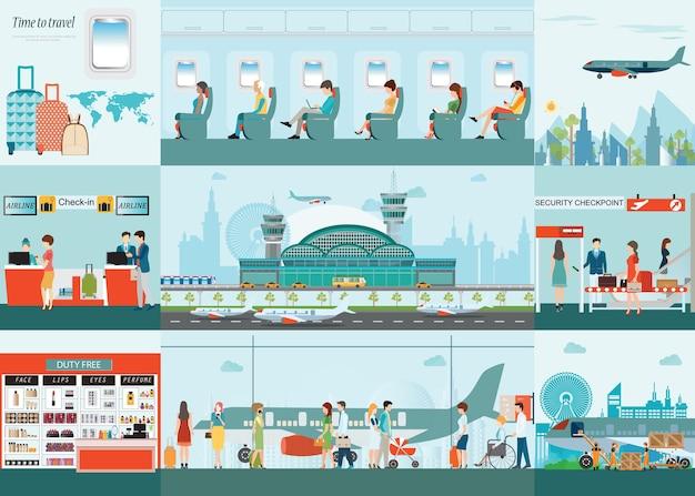 Aeroporto infográfico da companhia aérea de passageiros no terminal do aeroporto. Vetor Premium