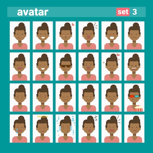 Africano americano feminino diferente emoção conjunto perfil avatar, mulher cartoon retrato rosto coleção Vetor Premium