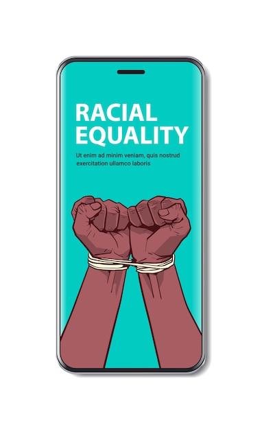Afro-americano punhos negros amarrados com corda na tela do smartphone pare racismo igualdade racial vida negra conceito de cópia espaço vertical Vetor Premium