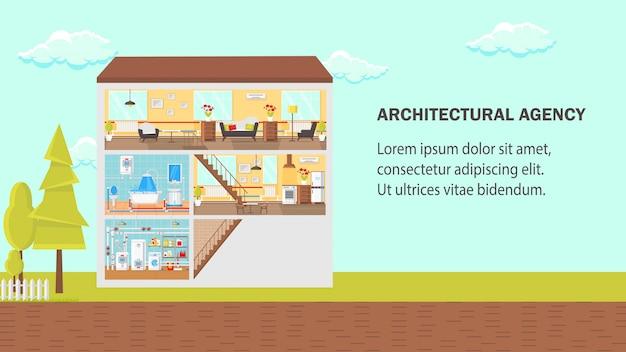 Agência de arquitetura plana ilustração em vetor. Vetor Premium