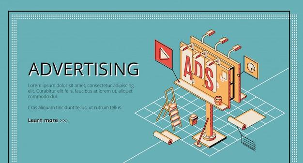 Agência de publicidade, empresa de marketing digital, banner web isométrica de serviço de promoção on-line Vetor grátis