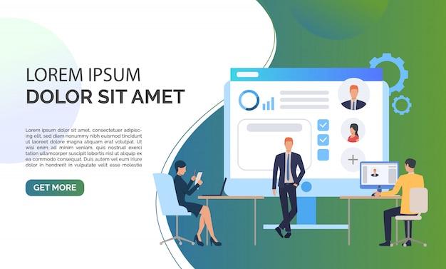 Agência de recrutamento, candidatos e texto de exemplo Vetor grátis